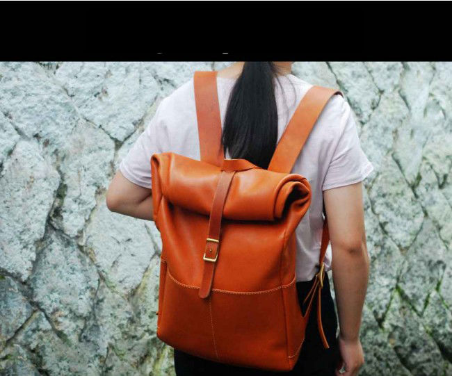 Leather Travel Rolling Backpack