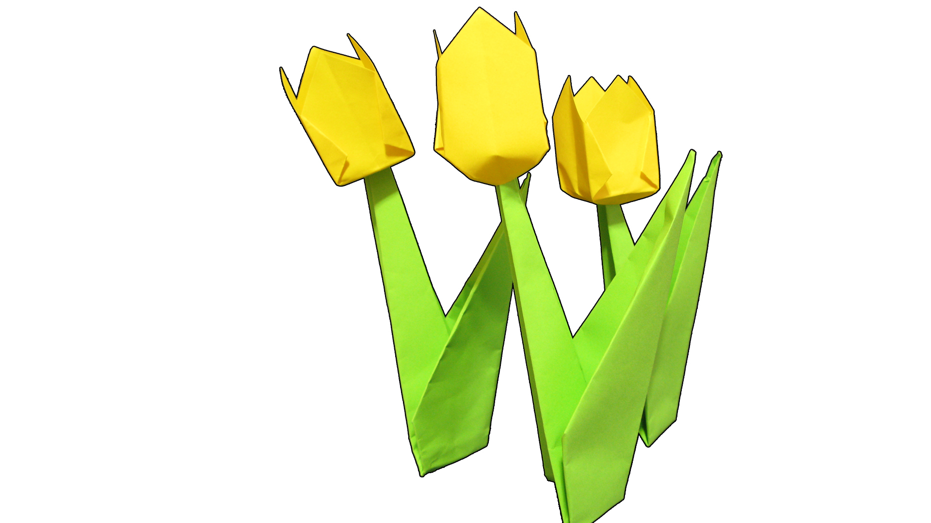 Easy Origami Tulip Flower with Stem