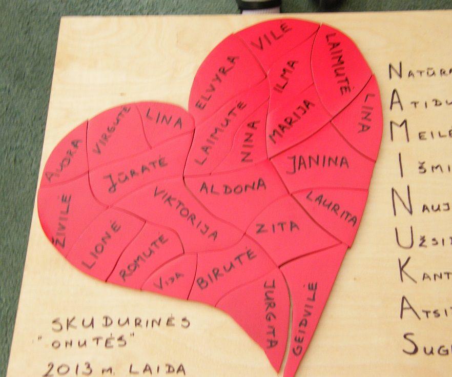 A puzzle heart for kindergarten graduation celebration