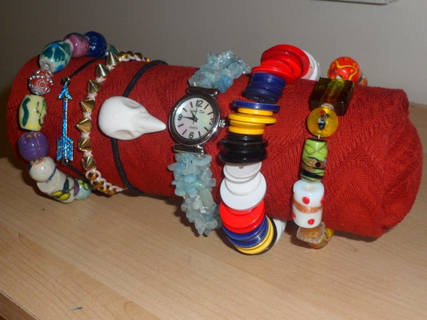 Jewellery Display Roll Made With Every Day Items.