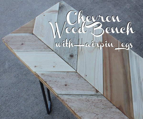 Chevron Wood Bench With Hairpin Legs!