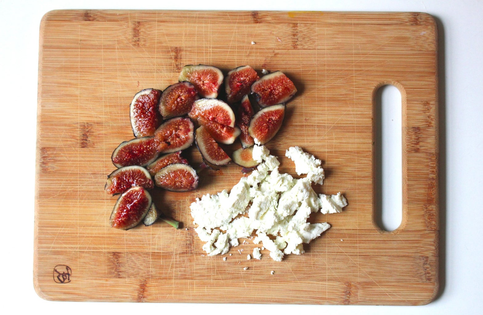 Dice Up Figs and Goat Cheese, Into Sizable Bites