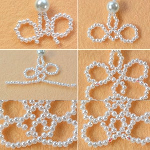 Make the Second Part of White Pearl Beaded Collar Necklace