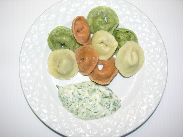 Tricolor Tortellini Filled With Mushroom