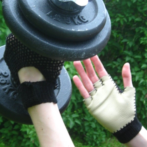 Crochet and Leather Gym Gloves