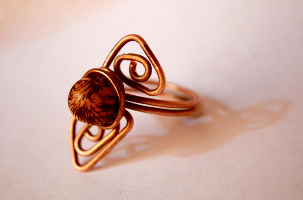 Copper Ring With Brazilian Seed
