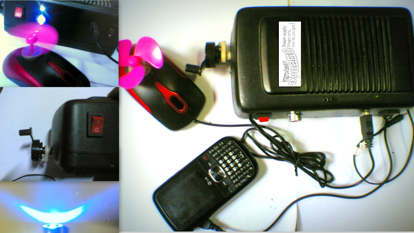 IMPROVISED DYNAMO POWER SUPPLY(with charger ports,led light,mini fan)