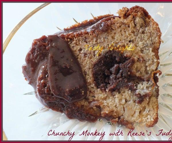 Chunky Monkey Bundt Cake With Reese's Fudge Tunnel & Ganache