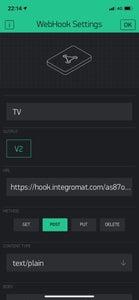 Create Webhook in BLYNK App