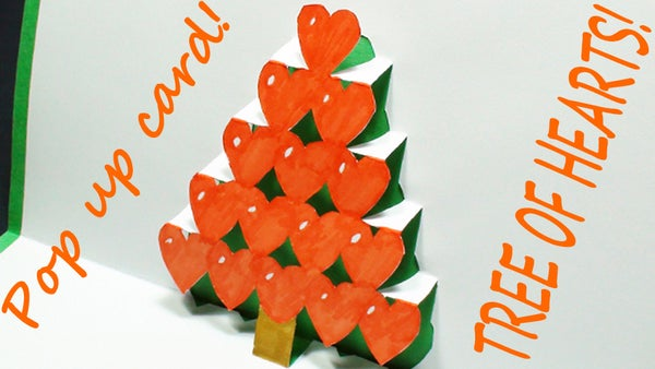 How to Make a Tree of Hearts Pop Up Card (Kirigami 3D) Valentines Day Greetings - TCGames [HD]!