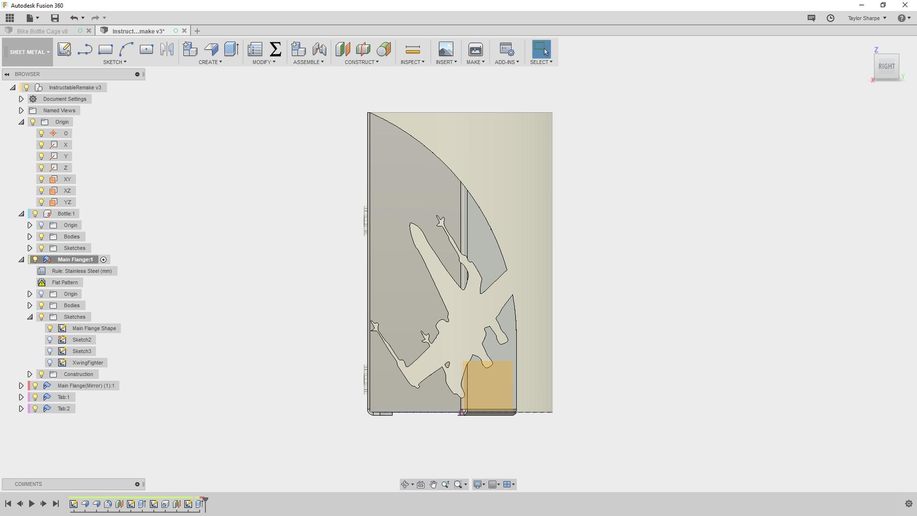 Adjust the Flange's Original Sketch