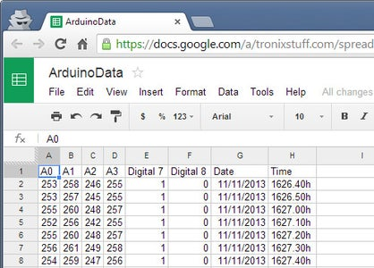 Sending Your Own Data From the Arduino Yún to a Google Docs Spreadsheet