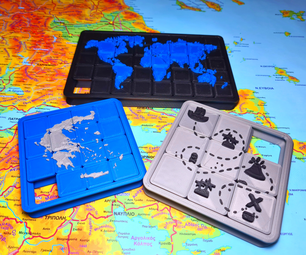 Map Sliding Puzzle 3D Printed - Fusion 360
