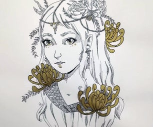 Drawing With Ink Pen and Golden Ink