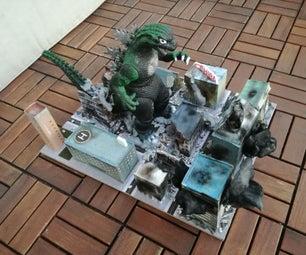 Cardboard Godzilla Diorama and Google Street View