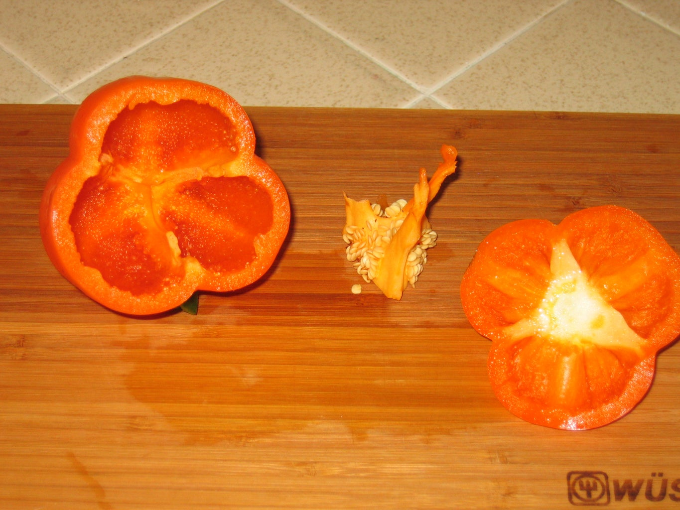 Pull Out the Center of the Bell Pepper.