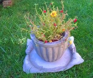 Concrete Planter and Concrete 'pillow' Plate