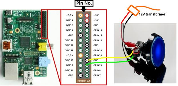 Wire Arcade Button on Raspberry Pi