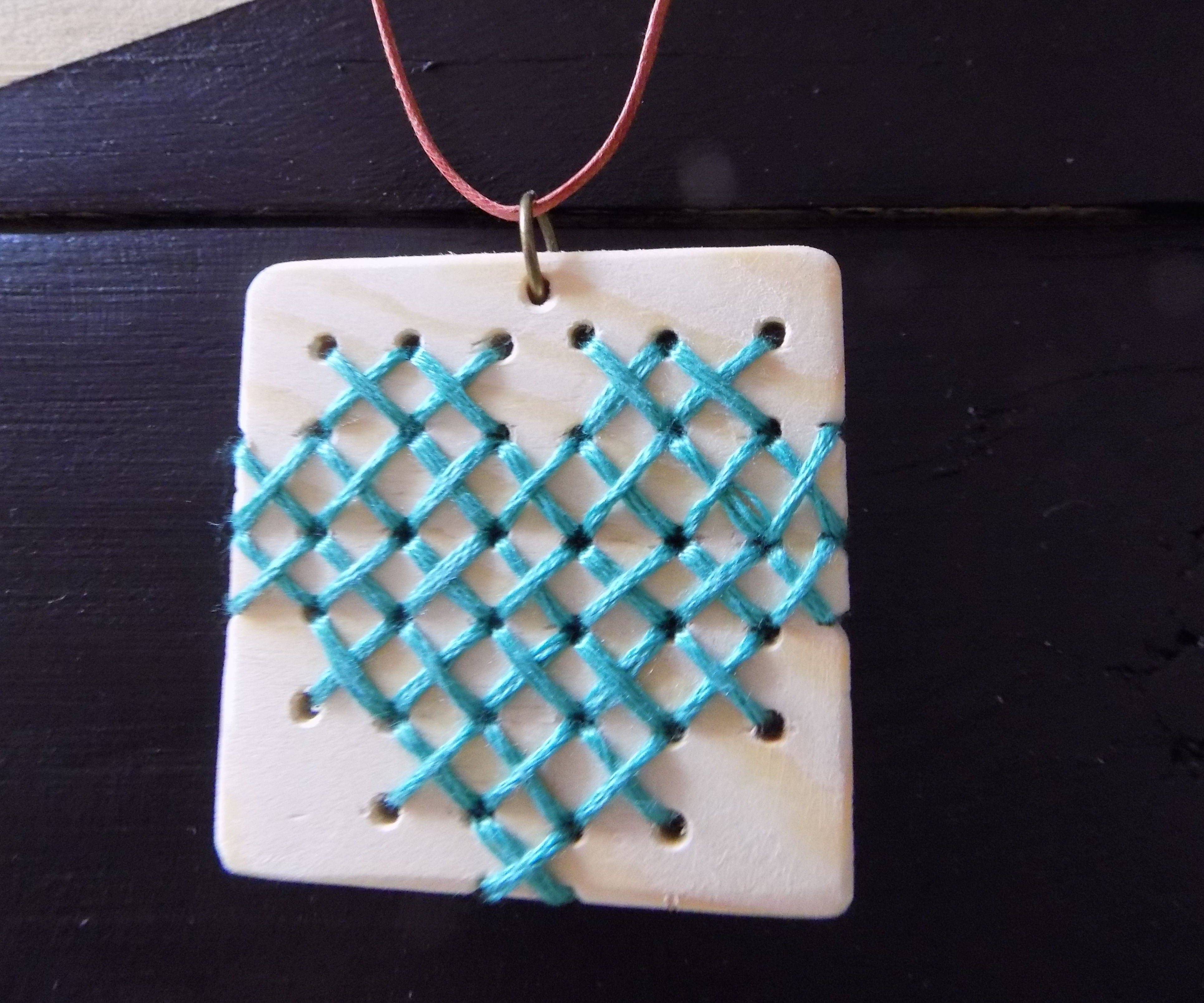 Cross Stitch Wood Necklace