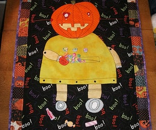 Halloween Robot Quilted Wall Hanging
