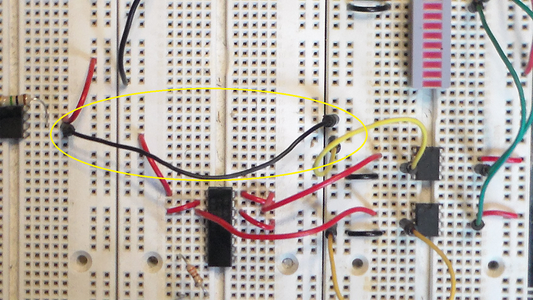 Connect the Output of the Amplifier Circuit to the Input of the 10-bar LED Display Driver Circuit.