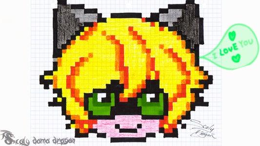 Painting Pixel Art Adrien Chibi Miraculous Ladybug