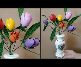 How to Make Tulip Flowers|DIY Leaves From Plastic Bottle|Easy Art & Craft TutorialTutorial