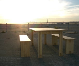 Bamboo Dining Table and Benches