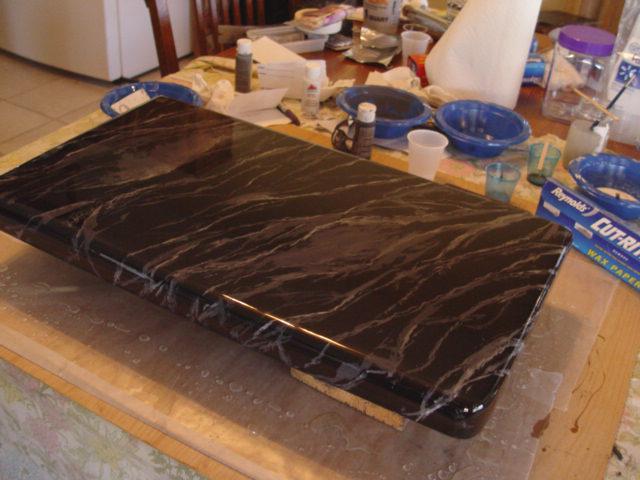 Faux marble concrete vanity top.