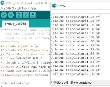 Use Serial Monitor to Check Temperature Readings From DS18B20