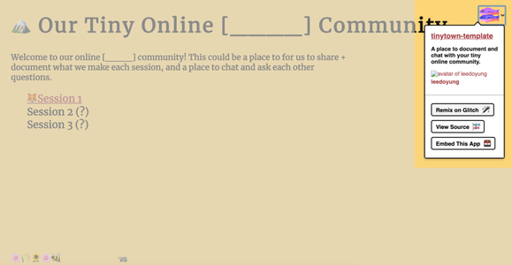 Remixing the Tiny Online Community Template on Glitch
