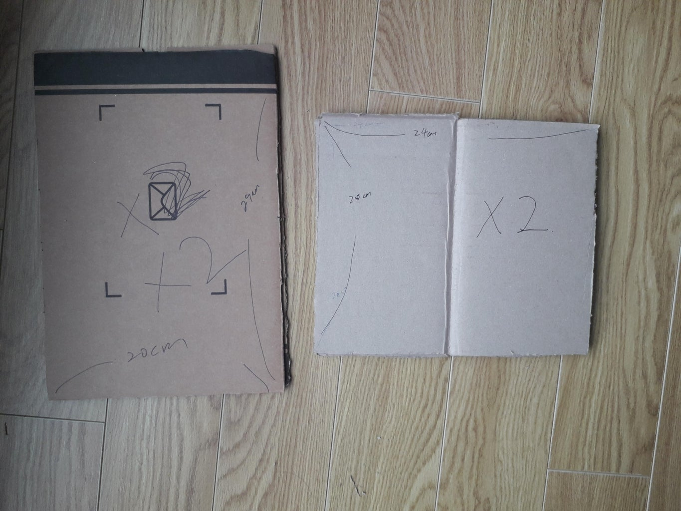 Cut the Cardboard 2 Pieces for Each 20 X 29 and 20 X 24.