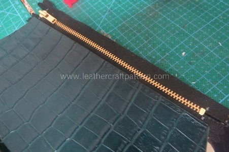 Now We Make Zipper Pouch, Sew One Side Cloth on Main Body Leather, Here I Fold More Cloth on Tips Toward Inner.
