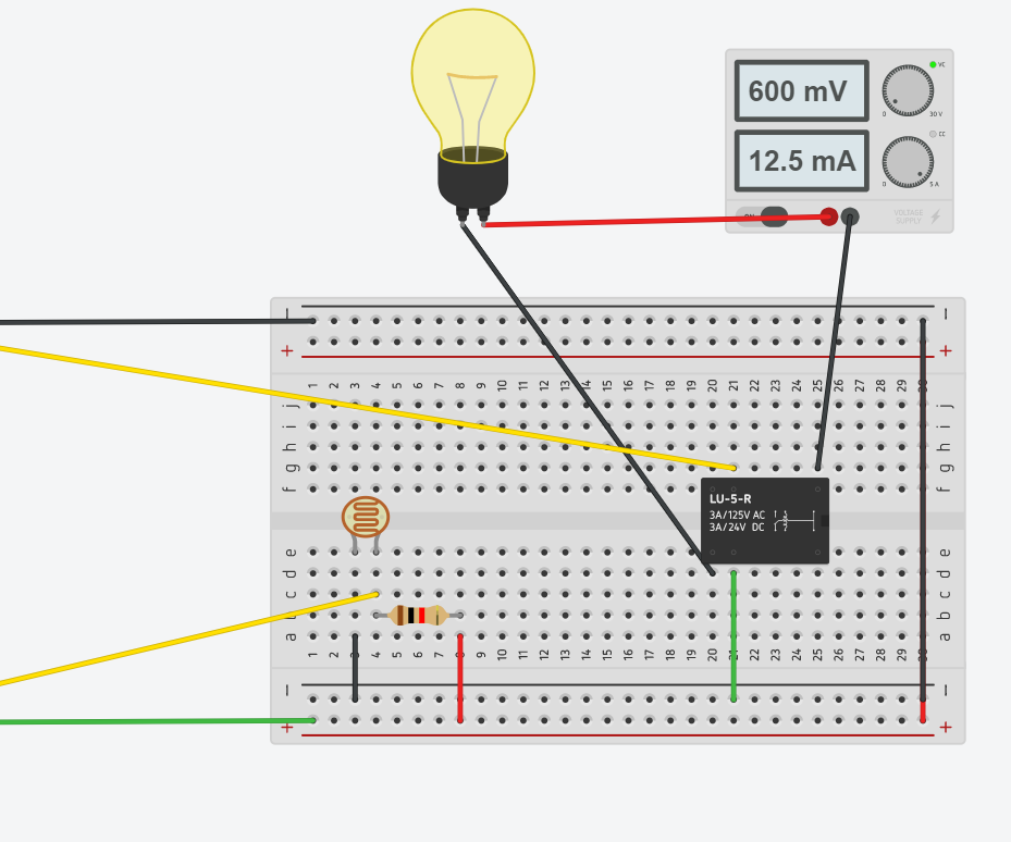 Arduino Light Intensity Lamp in Tinkercad