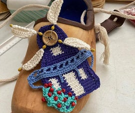 Bag Made of a Wooden Clog With Crocheted Mill