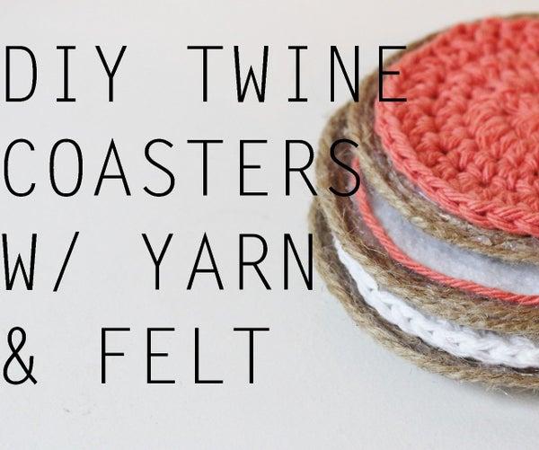 DIY Twine Coasters W/ Yarn & Felt