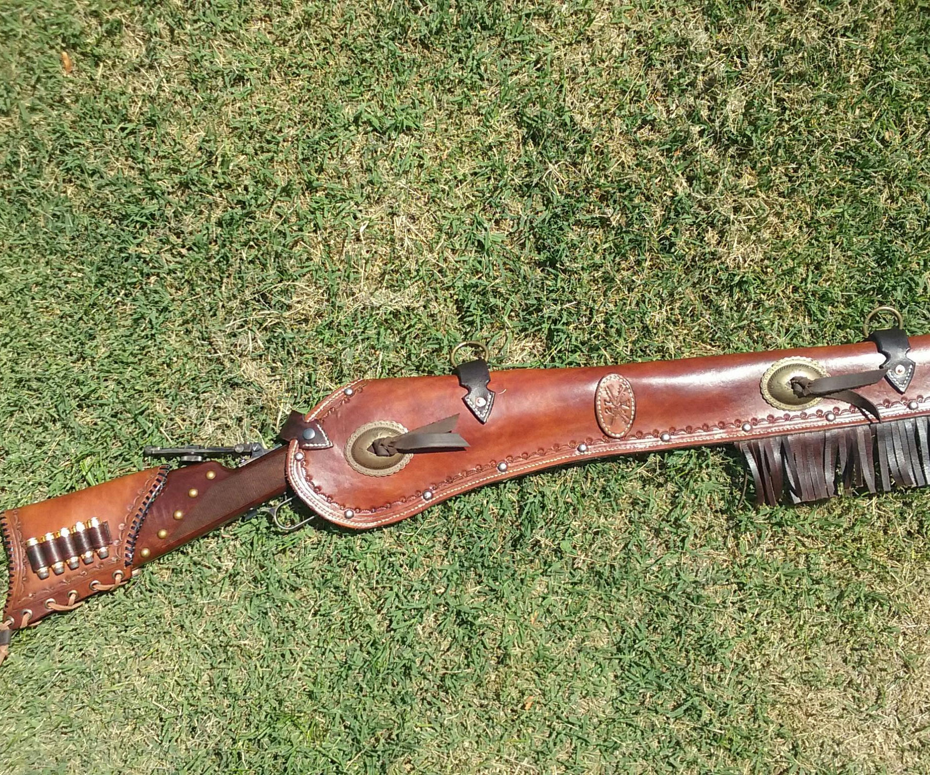 Winchester 73 Leather Rifle Scabbard and Buttstock Cover