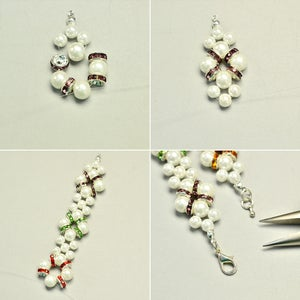 Finish the Pearl Bracelet With Pearl and Rhinestone Beads