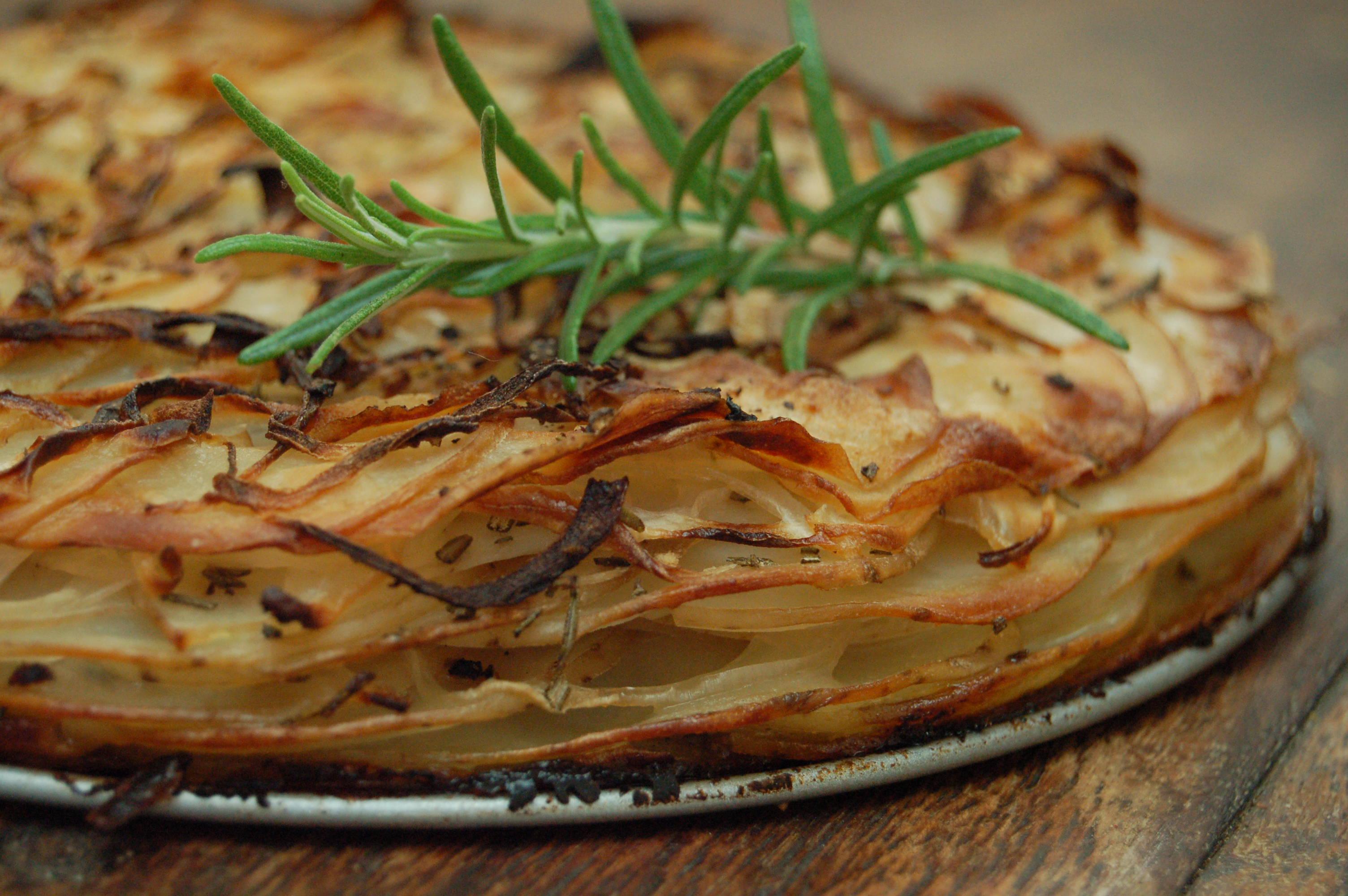 potato, rosemary and onion layer bake