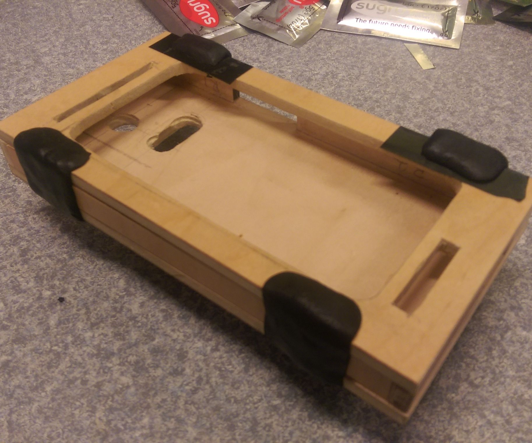 Classy wood Phone case with Sugru hinge and latch