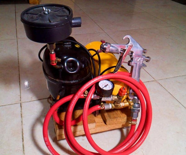 Tiny & Powerful Air Compressor Made With a Fridge & Extinguisher Tank