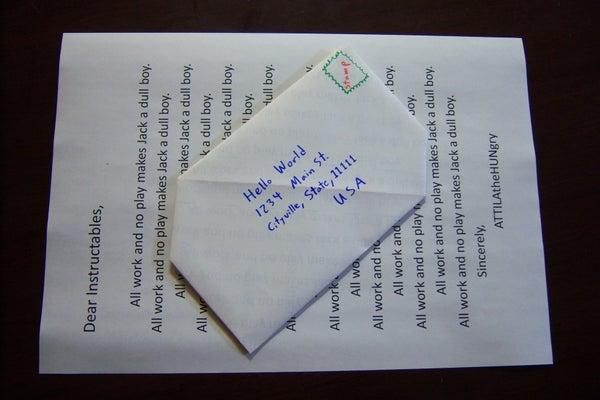 Envelope-free Letter Sending (Snail-Mail Origami)