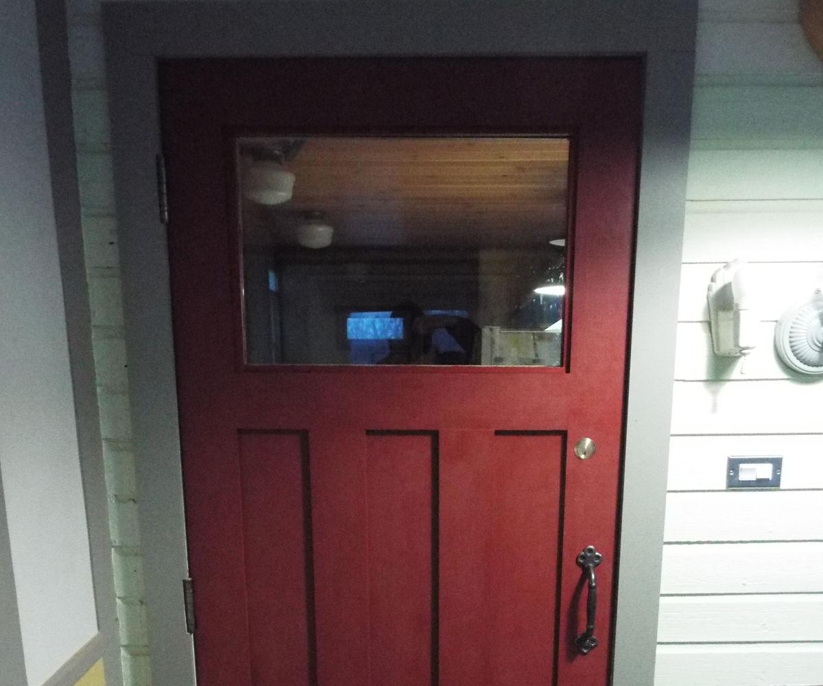 Recycle a Commercial Bathroom Door Into a Front Door