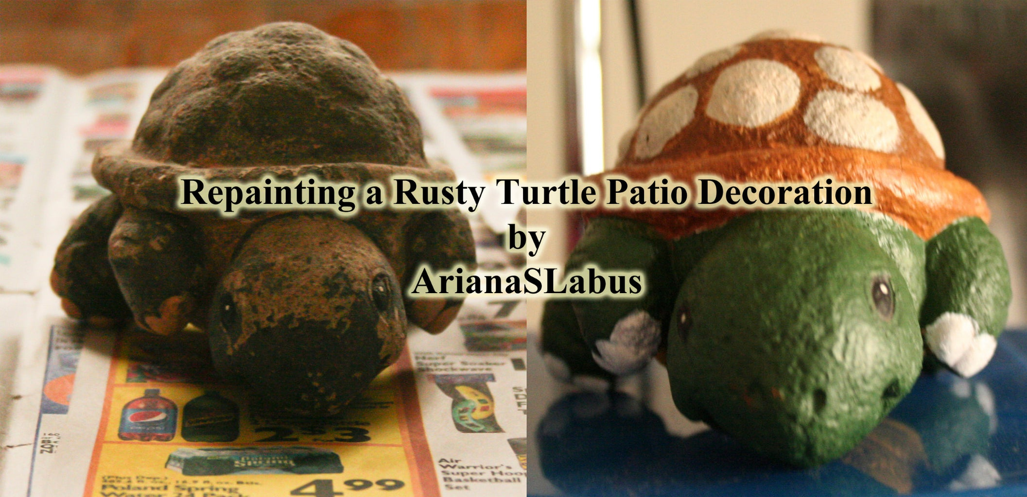 Repainting a Rusty Turtle Patio Decoration