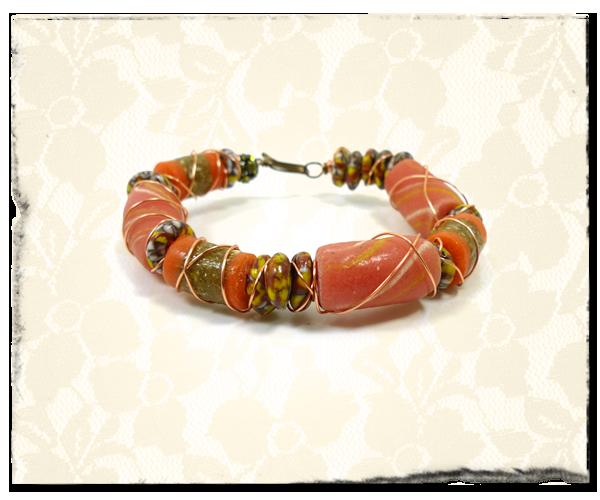 Wrapped Beady Bangle Bracelet