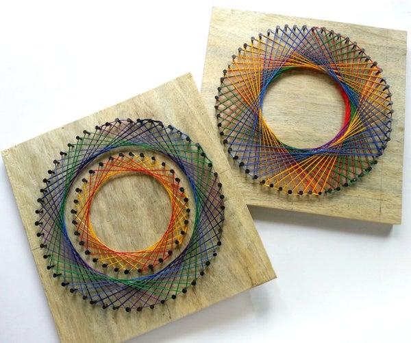 DIY Rainbow Spirograph String Art