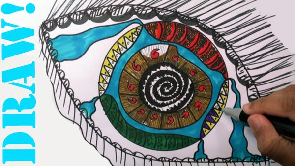 How to Draw: Zentangle Eye (Doodles) - DrawCartoonsEasy [HD]