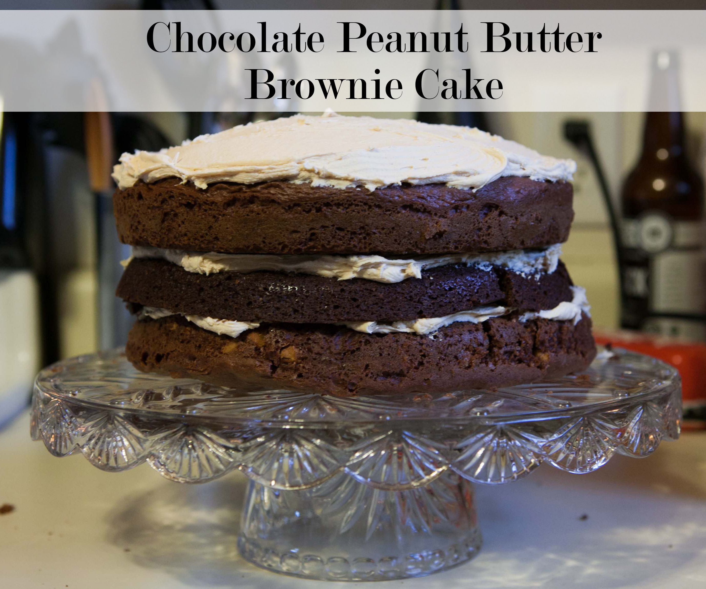 Naked Chocolate Peanut Butter Brownie Cake