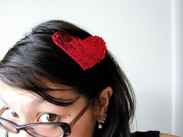 Sequined Heart Headband