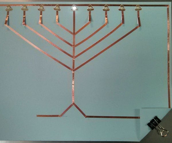 An LED Menorah Using Chibitronics Circuit Stickers